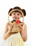Girl with painted eggs Royalty Free Stock Images