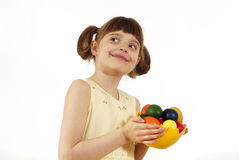 Girl with painted eggs Stock Photography
