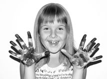 Girl painted fingers bw Stock Images