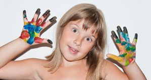 Girl painted fingers. Cool teen girl with painted fingers royalty free stock photos