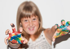 Girl painted fingers. Cool teen girl with painted fingers stock photos