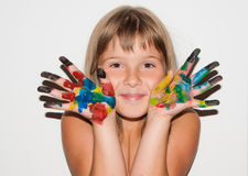Girl painted fingers. Teen girl portrait with painted fingers Stock Photography