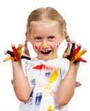 Girl with painted hands Stock Image