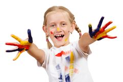 Girl with painted hands Stock Photo