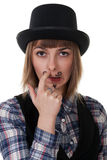 Girl with painted mustaches. And bowler hats on white background stock photo