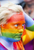 Girl painted in rainbow colors. Gay Pride Parade Copenhagen 2014 Royalty Free Stock Photo
