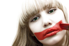 Girl with painted red lips Royalty Free Stock Images