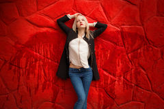 Girl with painted wings Stock Images