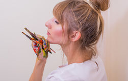 Girl painter Stock Image