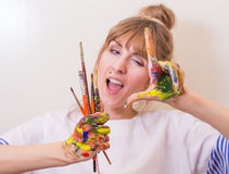 Girl painter Royalty Free Stock Image