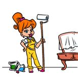 Girl painter home repairs Royalty Free Stock Images