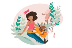 Girl painter paints tassel on easel. Natural landscape. Vector illustration Stock Photos