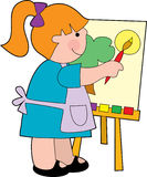 Girl painting. A litle girl painting on an easel Royalty Free Stock Image