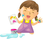 Girl painting. Illustration of isolated girl painting on white Stock Image
