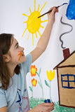 Girl painting stock image