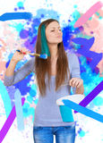 Girl painting all around Stock Image