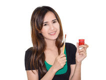 Girl painting. Asia girl with painting set object isolated on white background Stock Photography