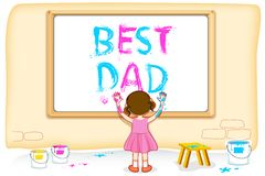 Girl painting Best Dad Stock Image