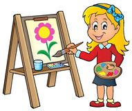 Girl painting on canvas 1 Stock Image