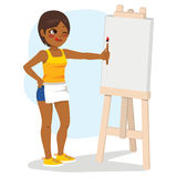 Girl Painting Canvas Royalty Free Stock Photography