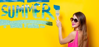 Girl painting dreaming summer vacation Royalty Free Stock Images