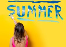 Girl painting dreaming summer vacation Stock Image