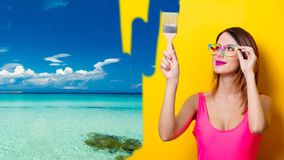 Girl painting dreaming vacation Royalty Free Stock Photography