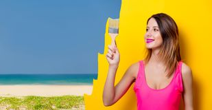 Girl painting dreaming vacation Stock Photo