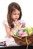 Girl painting Easter egg Stock Photo