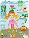 Girl painting easter eggs Royalty Free Stock Images