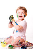 Girl painting with hands Royalty Free Stock Photo