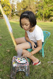 Girl Painting In In The Park Stock Photo