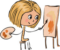 Girl Painting In Vector Royalty Free Stock Photography