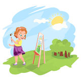 Girl painting outdoors  illustration Royalty Free Stock Photo