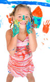 Girl while painting Royalty Free Stock Photo