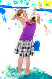 Girl while painting Royalty Free Stock Images