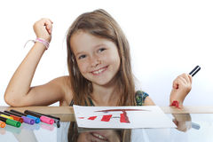 Girl painting a picture Royalty Free Stock Photo