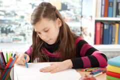 Girl painting a picture Royalty Free Stock Images