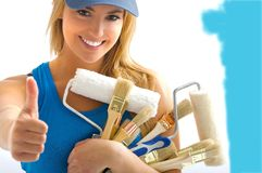 Girl and painting tools Stock Photo