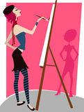 Girl painting vector Royalty Free Stock Photography