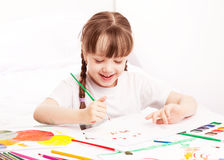 Girl painting with watercolor Royalty Free Stock Images