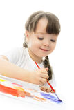 Girl Painting With Finger Watercolor Royalty Free Stock Photography