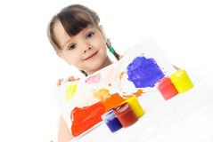 Girl Painting With Watercolor Royalty Free Stock Photos