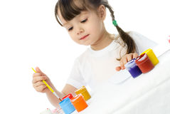 Girl Painting With Watercolor Stock Photography
