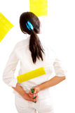 Girl painting in yellow Royalty Free Stock Photography
