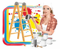 Girl with paints Royalty Free Stock Photos