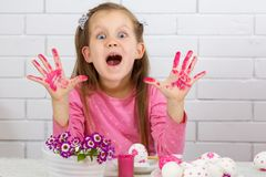 Girl with dirty hands royalty free stock photo