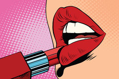 Girl paints her lips with red lipstick, makeup. Pop art retro vector. The beauty of the face Stock Photos