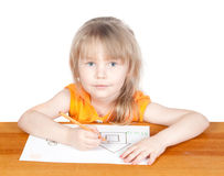 Girl paints house. On a white background Stock Images