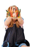 Girl paints paints Stock Image